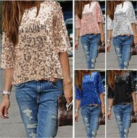 Wholesale batwing off shoulder tops - Wholesale2018 New Fashion Women Ladies TOP Sexy Off Shoulder Sequin Top T Shirts Party Streetwear Autumn Casual Loose Tees camiseta mujer Z1