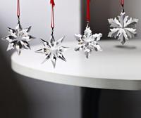 Wholesale bamboo pendant lights - Top Quality 4pcs Christmas Snowflake Hanging Glass Pendants Crystal Suncatcher Prism Chandelier Parts Ornament Party Decor