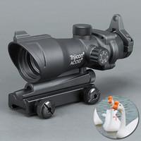 yeşil kırmızı nokta kapsamı lazeri toptan satış-Trijicon Firmasına ACOG 1X32 Teleskopik Sight Kırmızı / Yeşil Nokta Lazer Sight 20mm Mounts Kapsam Sight avcılık için