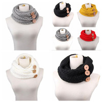 Wholesale infinity scarves online - 5 Colors cm Winter Warm Knitted Infinity Scarf Luxury Women Solid Color Crochet Pattern Chunky Big Button Knitted Ring CCA10210