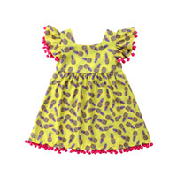ropa de bebé rosa amarillo al por mayor-2018 Summer Kids Yellow Dresses Baby Girl Pink Tassel Pineapple Party Sundress Vestido de manga corta Ropa Kid Girl Clothing Boutique de moda