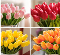 Wholesale Artificial Silk Tulips - 10 colors Umiwe 50pcs PU Fake Artificial Silk Tulips Flores Artificiales Bouquets Party Artificial Flowers For Home Wedding Decoration