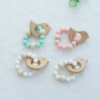 stroller accessories toys - Wooden Baby Bracelet Animal Shaped Jewelry Teething For Baby Organic Wood Silicone Beads Baby Rattle Stroller Accessories Toys
