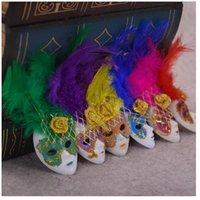 embalagens de penas venda por atacado-Popular Mini Veneza Feather Máscara Frigorífico Ímã Itália Lembranças Ornamento Home Decor Presente Pacote 6 Cores 12 pçs / lote DEC252