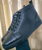 873d48a7d 2018 [Original Box] France Desingers Sapatos de Festa de couro de cobra  preto Red Bottom Sneakers Camurça De Couro 4 Seaons Desgaste, 36-46