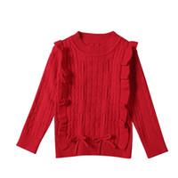 baby mädchen roten pullover großhandel-Mädchen Red Christmas Pullover Herbst Winter Baby Mädchen Pullover Baumwolle Für 1-5 Jahre Baby Mädchen Winterkleidung Pullover Kinder Pullover