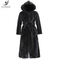 productos de imitación al por mayor-2018 moda de alta calidad del otoño del nuevo producto abrigo de piel de imitación con capucha de algodón acolchado larga capa de felpa abrigo de mujer rompevientos 161