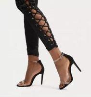 frauen vogue high heels sandalen groihandel-2018 High Heels Sandalen Frauen Mode PVC Transparente Frauen Sommer Schuhe sexy Struckle High Heels Schuhe