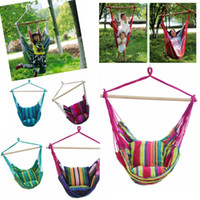 Wholesale wood hanging - Garden Patio Porch Hanging Cotton Rope Swing Chair Seat Hammock Swinging Wood Outdoor Indoor Swing Seat Chair DDA487