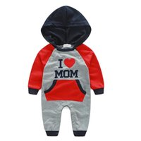 Wholesale i love rompers for sale - Group buy Infant Baby Clothes I Love Dad Mom Baby Autumn Rompers Hooded Embroidery Long Sleeve Children Kid Jumpsuit Clothing Suit