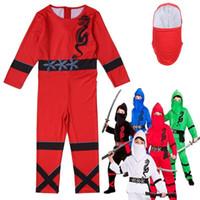 ingrosso ragazzi sexy giapponesi-Cosplay Giapponese Samurai Ninja Warrior Costume Costume di Halloween Per bambini Carnaval Toddler Tute Body suit / maschera