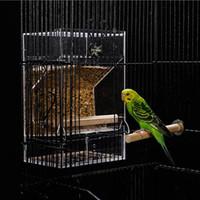 pájaros jaulas de pájaros al por mayor-Alimentador de pájaros de cristal Aves Alimentadores de agua Anti rechazo Resistencia a salpicaduras Loro espolvoreado Automático Blanking Acrílico Birdcage 23fg ff