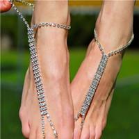 sandálias de joalheria para casamento venda por atacado-Nova Moda de Casamento Pé Jóias Simples Partido Praia Cristal Strass Charme Descalço Mulheres Sandálias Tornozeleiras Para As Mulheres