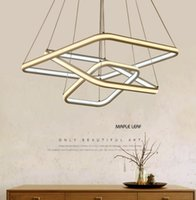 Wholesale Glow Chandelier - Square double glow led chandeliers modern led pendant lights aluminum white hanging chandelier for dining kitchen room high brightness LLFA