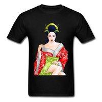 roter sexkragen großhandel-Sex-rotes Lotus-Geisha-T-Shirt Erwachsene Baumwolloberseiten-Hemden drucken zufällige runde Kragen Sweatshirts Harajuku Pin - herauf Japan-Mädchen-T-Shirt