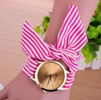 Wholesale geneva watches floral for sale - Group buy Attractive Stylelish Fashion Women Stripe Floral Cloth band Quartz Dial Bracelet Wristwatch Geneva Watch Reloj Mujer