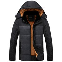 Wholesale Padded Hat - Men Winter Thick Warm Down Coats Hooded Fleece Cotton-padded Zippers Up Windbreaker Jackets Plus Size 4XL