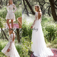 Wholesale two tiered wedding dress - Limor Rosen 2018 Long Sleeve Country Wedding Dresses with Detachable Train Modest Backless Two in One Short Bohemian Beach Wedding Gown