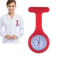 enfermagem relógio relógio médico venda por atacado-Moda Enfermeiras Relógios Médico Fob Assista Broches de Silicone Túnica Baterias Médica Enfermeira Mulheres Relógios de Quartzo com Clipe relogio