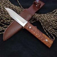 satin en bois achat en gros de-Couteau droit 440C lame de satin poignée palissandre manche en bois de palissandre