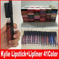 Wholesale Velvet Stockings - KYLIE JENNER LIP KIT lipliner Lip liner pencil Velvetine Liquid Matte Lipstick in Red Velvet Makeup Lip Gloss Make Up 41color In Stock