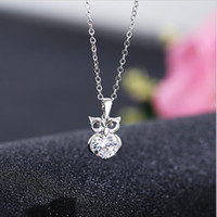 сова подвески бижутерия оптовых- jewelry necklace for women owl pendant zircon necklace simple choker hot fashion free of shipping
