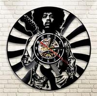 ingrosso vinile per artigianato-Jimi Hendrix Orologio da parete Vinile Soggiorno Camera da letto Orologi Retro Nostalgia Nero Moderno fatto a mano Artigianato regalo Home Decor 63qm ff