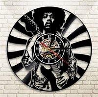 vinyl für das handwerk großhandel-Jimi Hendrix Wanduhr Vinyl Wohnzimmer Schlafzimmer Uhren Retro Nostalgie Schwarz Moderne Handgemachte Handwerk Geschenk Wohnkultur 63qm ff
