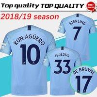 Wholesale man city soccer jerseys - City Home Blue Soccer Jersey 2018 19 #10 KUN AGUERO Football Soccer Shirt 2019 Customized # 17 DE BRUYNE 33 G.JESUS Football Uniform