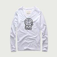 spandex camiseta de los hombres al por mayor-Akkad 2018 Autumn Doraemon Logo Imprimir Anime T shirt Hombres 100% algodón Spandex con cuello en V camiseta de manga larga Hombres sueltos de gran tamaño S-XXXL