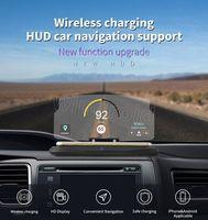 навигационное автомобильное зарядное устройство оптовых-Новое прибытие 2 в 1 авто HUD Head Up Navigation Display стеклянный отражатель беспроводное зарядное устройство QI IOS Держатель телефона беспроводная зарядная база