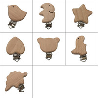 pinza de madera para el corazón al por mayor-Chupetes de Madera Natural Bebé Chupete Clip Pájaro Corazón Oso Forma Clips De Madera Chupete Infantil Dummy Cierres Accesorios Holder