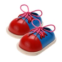 Wholesale montessori toddler toys for sale - 2pcs Baby Wooden Toys Toddler Kids Montessori Educational Toys Lacing Shoes Early Teaching Aids Children Wood Puzzle