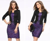 iş kıyafeti toptan satış-Moda Kadın Çalışma Elbise Ofis Ince Mizaç İş Kıyafetleri Dantel Paketi Kalça Kalem Etek Kemer Ile Büyük Boy 3xl Ücretsiz Kargo 4138