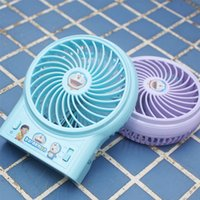 Wholesale toy fan lights - Mini Portable Fan Doraemon LED Light USB Rechargeable 3in1 Multi-function Foldable Handheld Summer Air Cooler Portable Fan Kids Toys ZB003