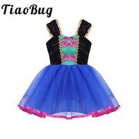 elbise 6 m toptan satış-Toptan Çocuklar Çiçek Kız Elbise Mavi Diz Boyu Communion Cosplay Elbise Için Parti vestidos de comunion Örgün Tül Elbiseler
