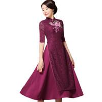 cheongsam largo morado al por mayor-Púrpura Verano Mujeres Encaje A-Line Vestido de Flores Bordado Largo Cheongsam Étnico Vietnam Aodai Qipao Oversize S-XXXXL