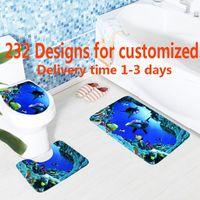 estera de pvc de impresión al por mayor-3D Printing Toilet Mat 3PCS / SET Alfombras de baño antideslizante Toilet Tank tapa de la tapa Mat Carpet Lid Toilet Cover Tapetes de baño 232 Designs WX9-892