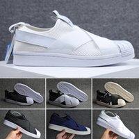 Wholesale women tassel loafers - 2017 Best Qualilty Summer SUPERSTAR SLIP ON Sandals Loafers For Men Women head crossed strap black and white unisex sneakers 36-44