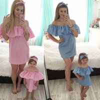 Wholesale princess style women dresses - Family Matching clothes Mother and daughter Off Shoulder Lotus leaf collar dress 2018 summer women baby princess dress 3 colors C4061
