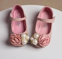 Wholesale korean kids shoes wholesale - Girl Princess Flower Girls Shoes Spring Flowel Pearl Soft-soled Children Shoeses Korean Cute Kids Flat Shoes