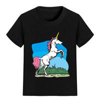 Wholesale jumping clothing - NEW ARRIVAL Children Cartoon T Shirt Jumping Unicorn Printed Boy Kid Clothes Short Sleeve Girl Tee Shirt Kid Summer U2366