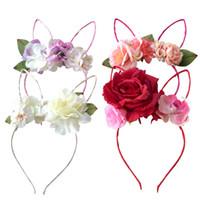 rosas de tecido de flores venda por atacado-Tecido Rose Flor Headband Coelho Rendas Orelhas de Coelho Headbands Para Mulheres / crianças Coroa Floral Acessórios Para o Cabelo