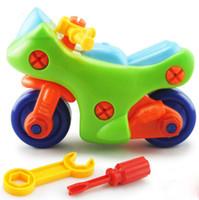 tornillos de juguete para niños al por mayor-Aprendizaje temprano Educación Bricolaje Tuerca Tornillo Grupo de plástico Desarmado 3d Desmontaje Motocicleta Niños Juguetes para niños Jigsaw Envío Gratis