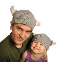 ingrosso i cappelli della novità dei bambini lavorati a maglia-Novità per bambini Inverno Novità per bambini Cappello fatto a mano all'uncinetto Corni vichinghi Cappelli lavorati a maglia Berretti per bambini