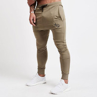 Wholesale field pants - HOT 2018 Outdoor elastic Muscle sports fitness sports modal embroidery men jogging Running Fitness Track and field pants