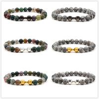 indischen buddha charms großhandel-8mm bunte indische stein perlen armbänder hantel charms armband buddha yoga strench schmuck silber gold schwarz farben