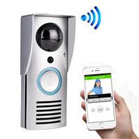 cámaras de timbre de la puerta de intercomunicación al por mayor-Intercomunicador con video Timbre WIFI Cámara de video inalámbrica inteligente Cámara Bell 720P Visión nocturna Detección de movimiento Audio bidireccional