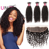 Wholesale Brazilian Curly Human Hair Weave - UNice Hair Virgin Brazilian Curly Wave Bundles With Lace Frontal 13x4 Ear to Ear Lace Frontals With Bundles Remy Human Hair Weaves