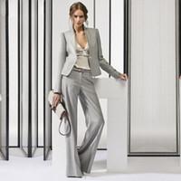 светло-серый костюм женщины оптовых-lad Light Gray Women's Business Suits Office Uniform Designs Women Trouser Suit Female Formal Work Wear 2 Piece Sets Custom Made
